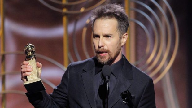 "BEVERLY HILLS, CA - JANUARY 07: In this handout photo provided by NBCUniversal, Sam Rockwell accepts the award for Best Performance by an Actor in a Supporting Role in a Motion Picture for ""Three Billboards Outside Ebbing, Missouri"" during the 75th Annual Golden Globe Awards at The Beverly Hilton Hotel on January 7, 2018 in Beverly Hills, California. (Photo by Paul Drinkwater/NBCUniversal via Getty Images)"