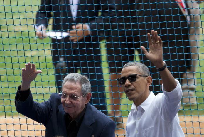 FARC-rebellen bij Obama en Castro in het honkbalstadion