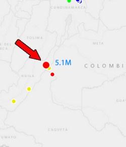 Departement Huila opgeschrikt door aardbeving van 5.1