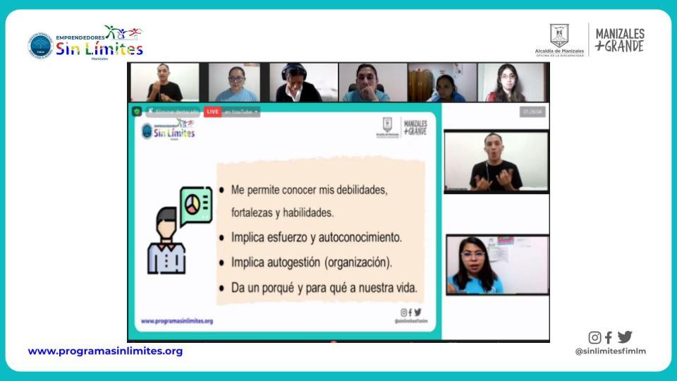 Cuarta clase del grupo de personas con discapacidad auditiva del proyecto Emprendedores Sin Límites de Manizales. Julio 2021