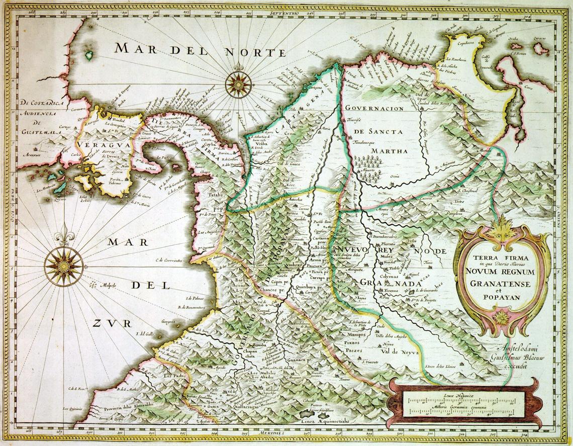 Oude kaart Colombia