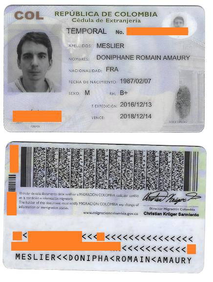 Carte d'identité colombienne