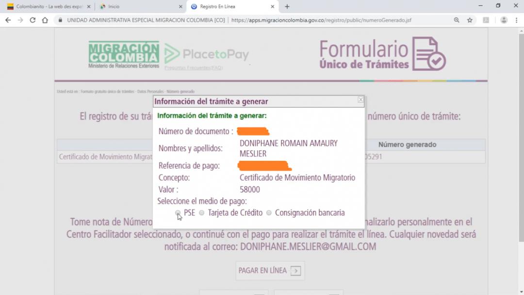 Versement certificat migratoire Colombie