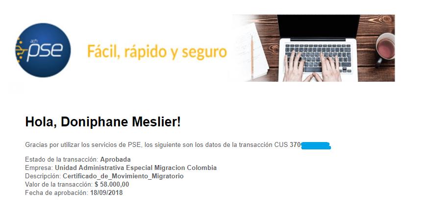 PSE reçu migration colombienne