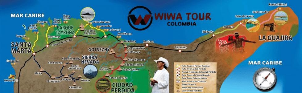 Carte de la Sierra Nevada de Santa Marta