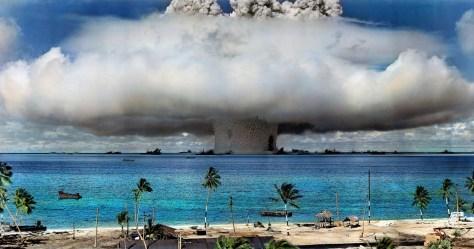 Ensayo nuclear estadounidense en el atolón Bikini (Islas Marshall), 1946 © ICAN