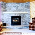 brown limestone tumbled ledgerock fireplace