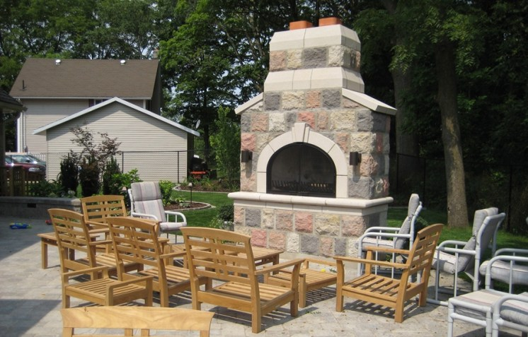 Century Brick Outdoor Patio Fireplace to match House