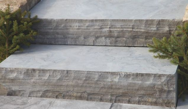 Charcoal Limestone Sandblasted Steps