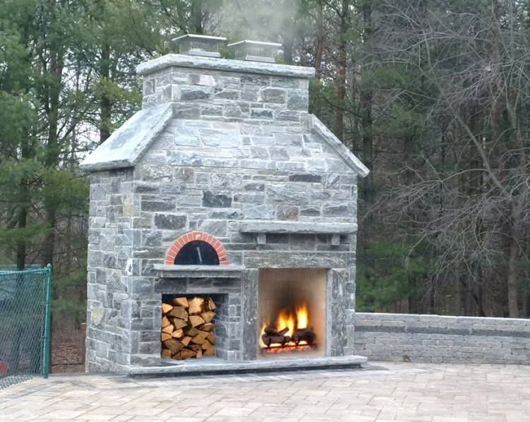 Elite Blue Granite Outdoor Fireplace and Pizza Oven
