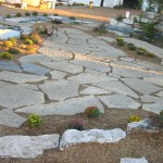 harvest gold limestone oversized flagstone top view