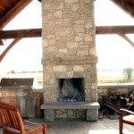 harvest gold limestone tumbled blend outdoor fireplace