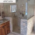 harvest gold limestone tumbled  shower surround