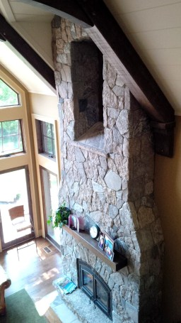 harvest gold with granite tumbled fireplace side