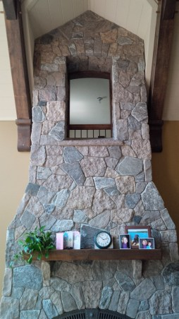 harvest gold with granite tumbled fireplace top