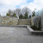 limestone sawn waterfall patio