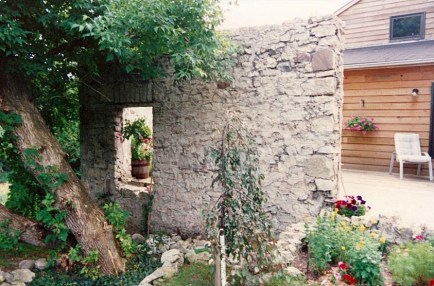 old mill ruins courtyard
