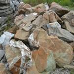 rusty green marble boulders