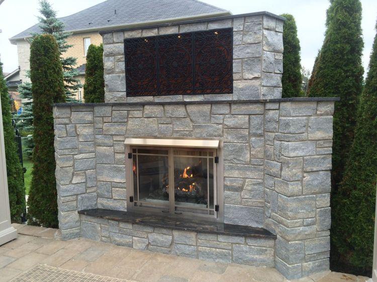 Weatheredge Limestone Silverwater Sawn Height Outdoor Fireplace