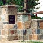 split fieldstone squared gatepost