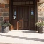 split fieldstone squared house entrance