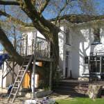 stucco house before