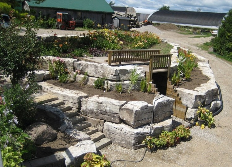 Weatheredge Limestone Armor Stone Raised Flowerbeds