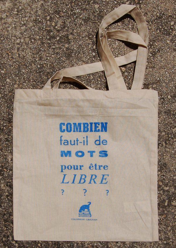 Tote Bag Bleu citation Colophon