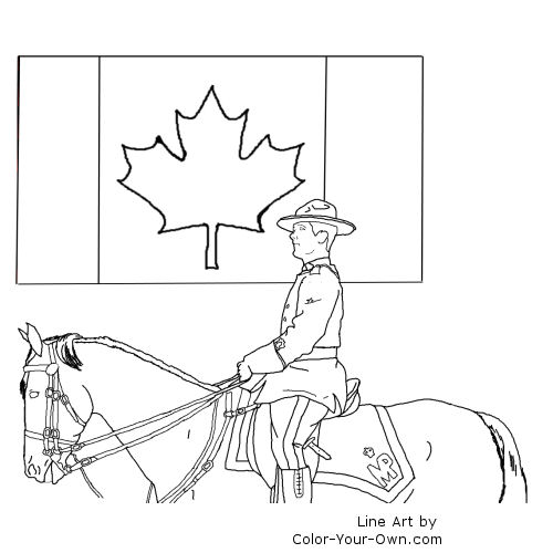 canada day mountie coloring page