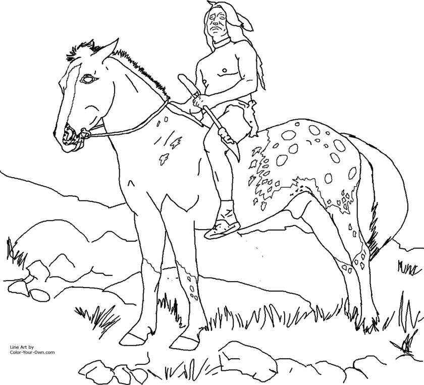 nez perce native american on appaloosa horse coloring page