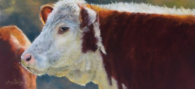 Sam SOLD (12x24 dry pastel). Sam knows where everything is, including your stuff.