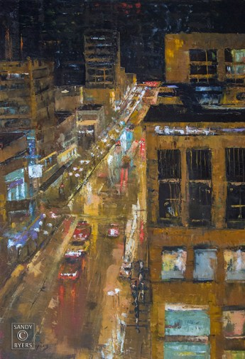 The Market From Pine SOLD (36x24 oil, gallery wrap). above it all but in it all. Seattle Pike Place market is a magnet.