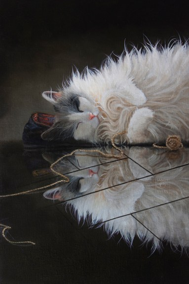 Double Trouble $3800 (36x24 oil on panel). oh, goodness, who could wake her? she has worked so hard, now she must rest. shhhhh....