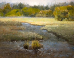 """""""Daybreak at Edmonds Marsh""""$925 (11 x 14 oil on panel). Early morning; Edmonds WA and, in the middle of the city, the only sound I could hear was the fog settling and the train rolling down the track."""