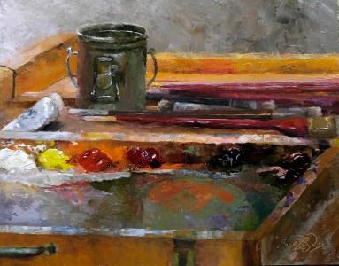 """Instructor's Palette""$925 (11 x 14 oil on panel)."