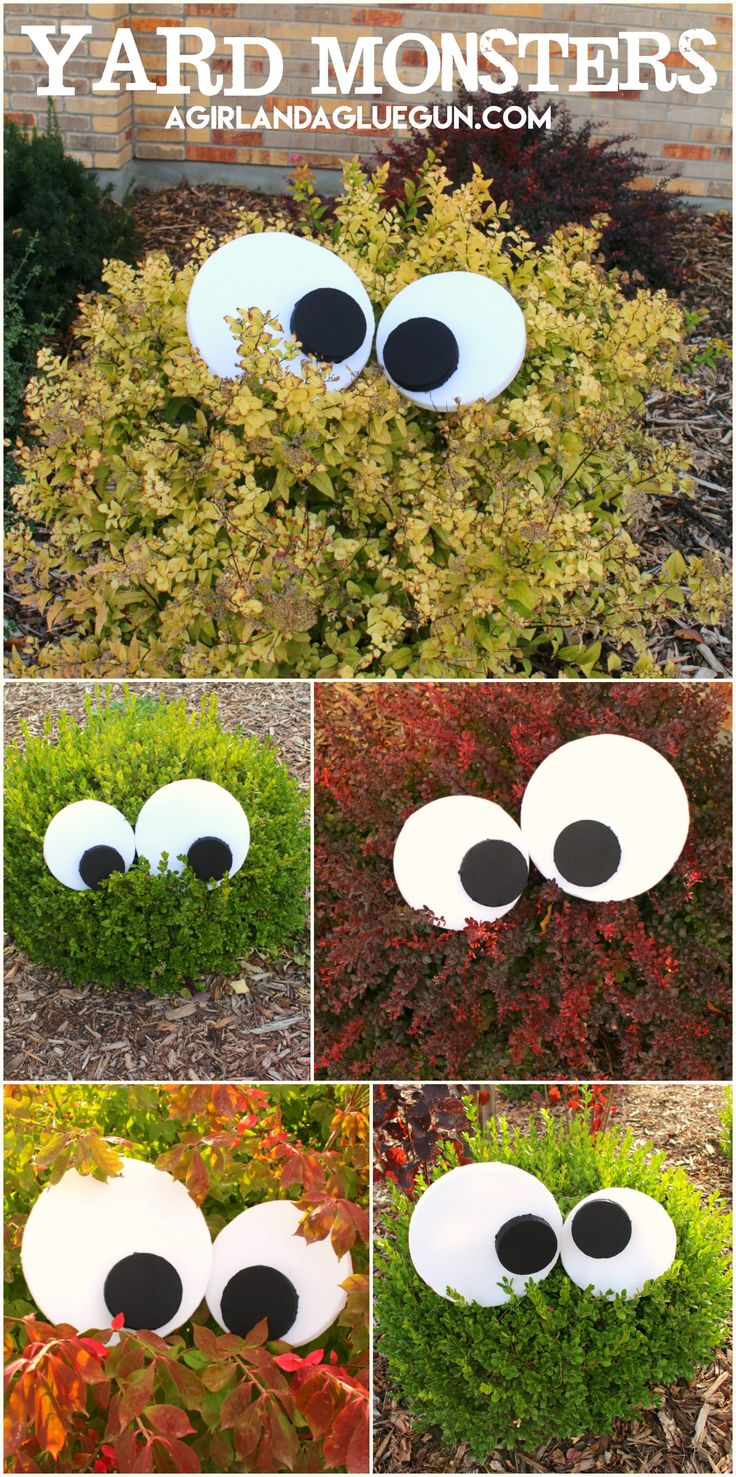 Diy halloween decorations that will make your home a scream decorations a super simple and creative idea get some poster paper and some scissors and bam turn your bushes or trees into monsters solutioingenieria Images