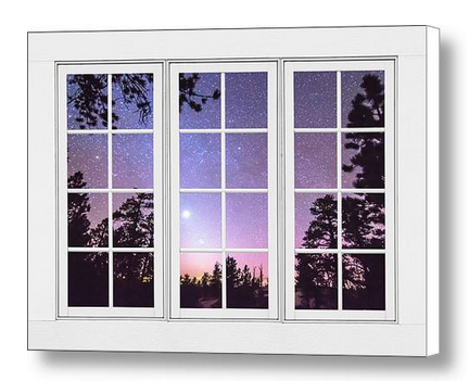 Starry Night Window View Canvas Print