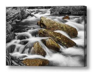 Cascading-Water-Rocky-Mountain-Rocks-Canvas-Wall-Art-Print