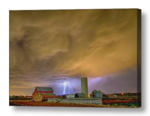 Thunderstorm Hunkering Down On The Farm Canvas Wall Art Print