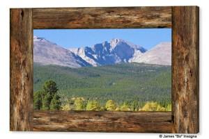 Colorado Longs Peak View Rustic Wood Window Canvas Print