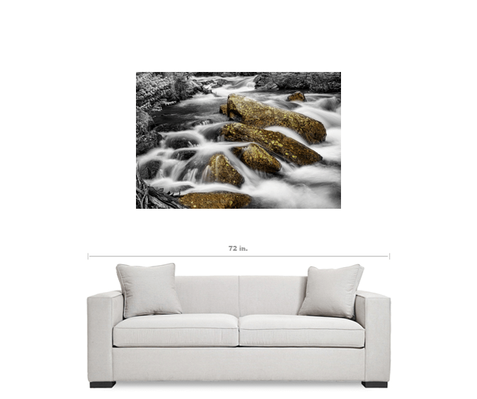 "Cascading Water and Rocky Mountain Rocks BWSC 32""x48""x1.25"" Premium Canvas Gallery Wrap Art"