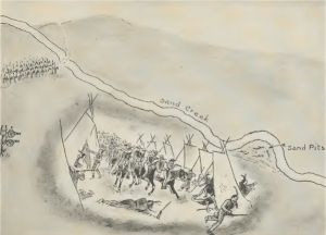 Situation of Indian Tents and the 3rd Colorado Regiment at the Beginning of the Sand Creek Fight.