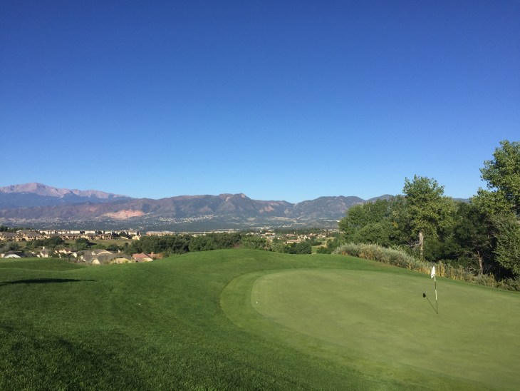 The view from the no.16 green offers a little reprieve from the struggle on the course.