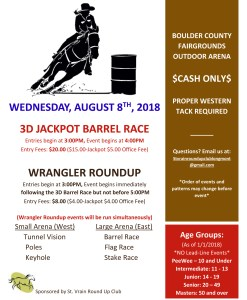St Vrain Roundup: Barrel Race and Wrangler Roundup at the Boulder Fair @ Boulder County fair |  |  |