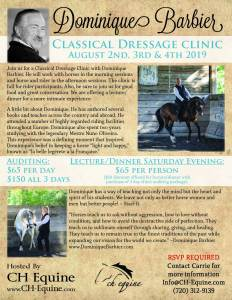 Classical Dressage with Dominique Barbier @ CH Equine |  |  |