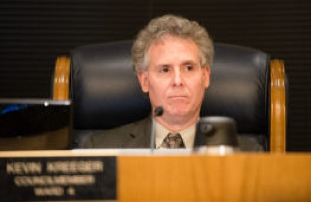 Councilman Kevin Kreeger at a recent Broomfield City Council meeting. (Ted Wood/The Story Group)