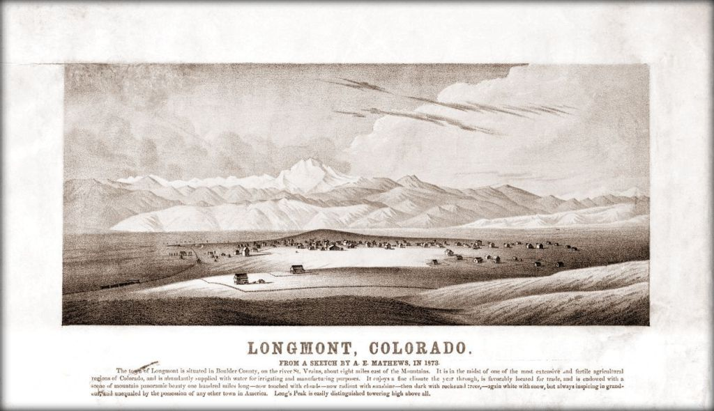 Longmont, Colorado from a sketch by A.E. Mathews, in 1873