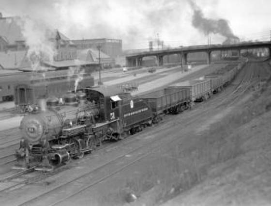 Switching operation of Denver & Rio Grande Western train, engine #51, engine type 0-6-0, April 4, 1937.