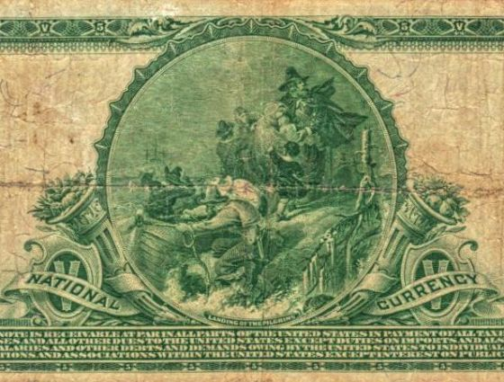 $5.00 National Currency issued by The First National Bank of Colorado Springs, Back 1914.