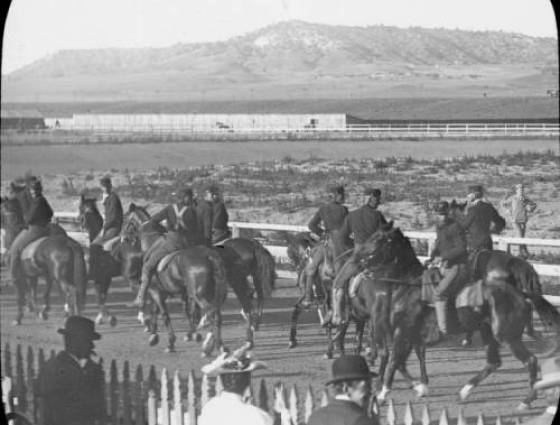 United States Cavalry soldiers ride horses at Fort Logan 1880-1900.